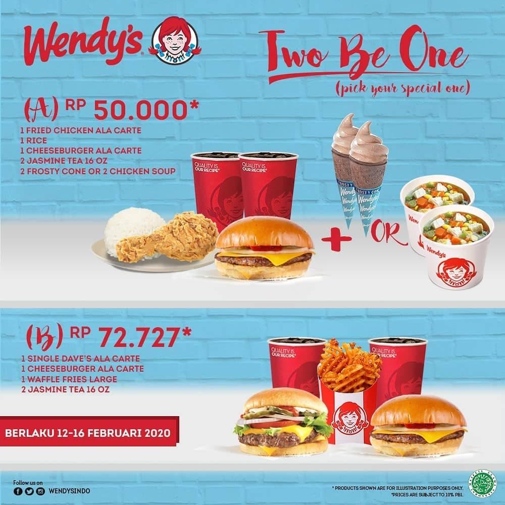 Wendy's Promo Two Be One, Harga Spesial Paket Makanan Mulai Dari Rp. 50.000