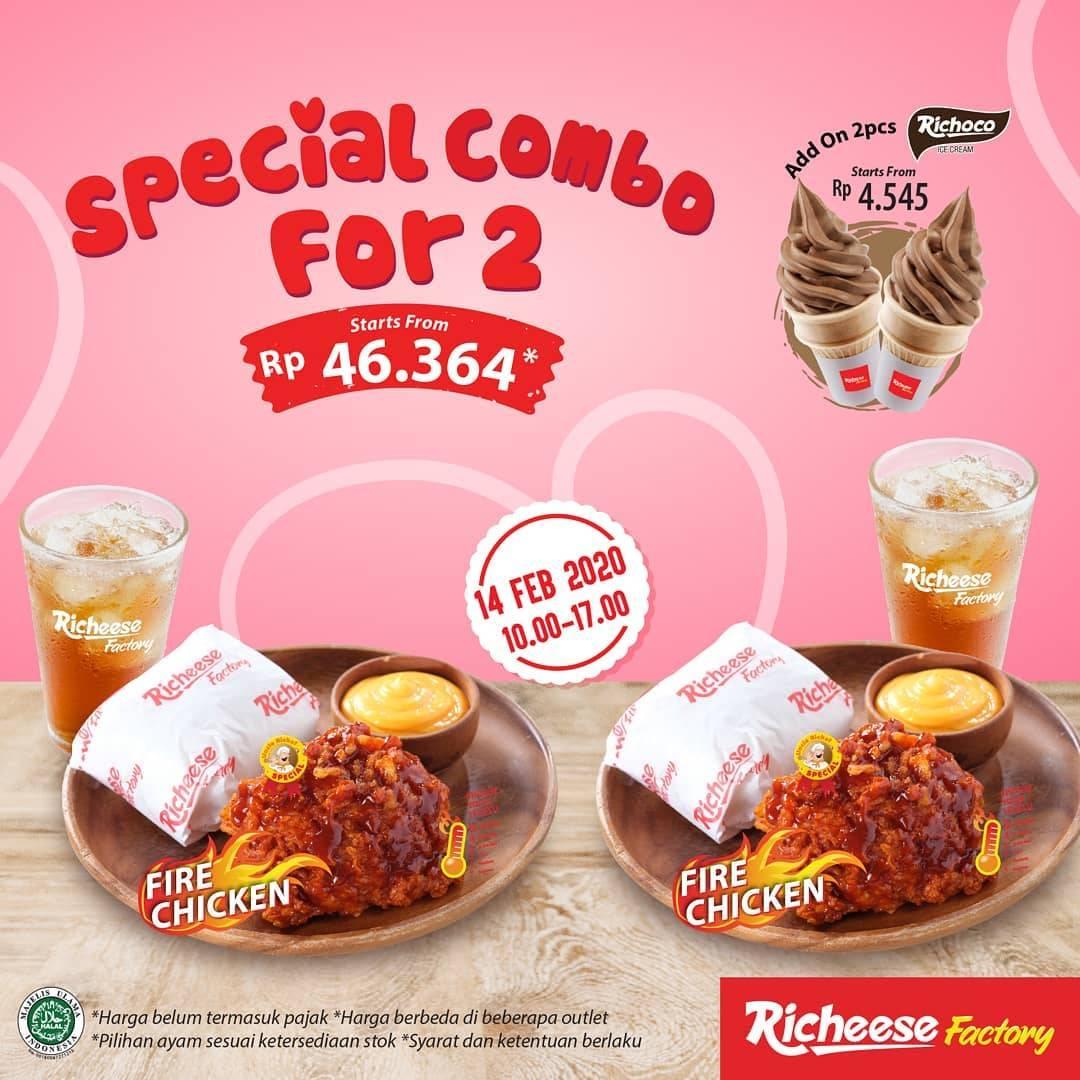 Diskon Richeese Factory Promo Harga Spesial 2 Combo Fire Chicken Mulai Dari Rp. 46.364,-