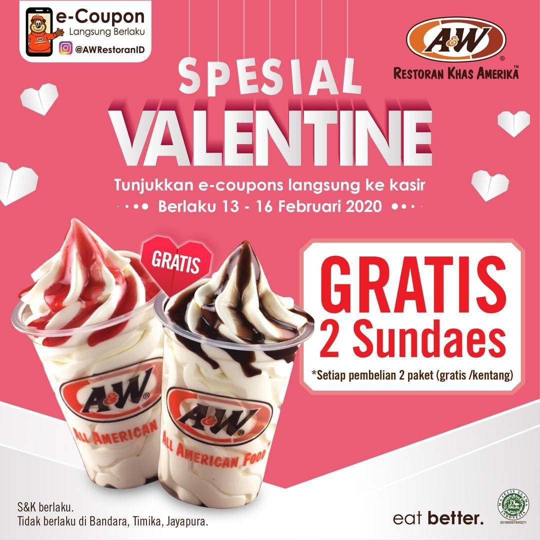 A&W Promo Spesial Valentine, Gratis 2 Sundae Setiap Pembelian Menu Pilihan