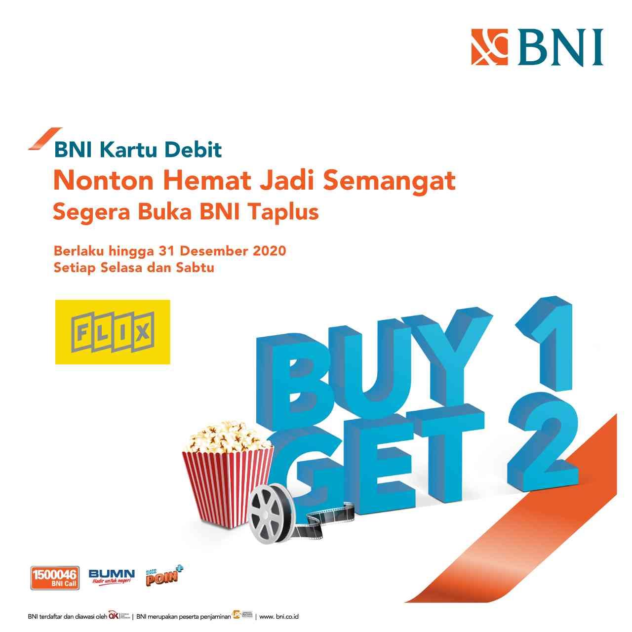 Flix Cinema Promo Buy 1 Get 2 Tiket Nonton Pembayaran Dengan Kartu Debit BNI