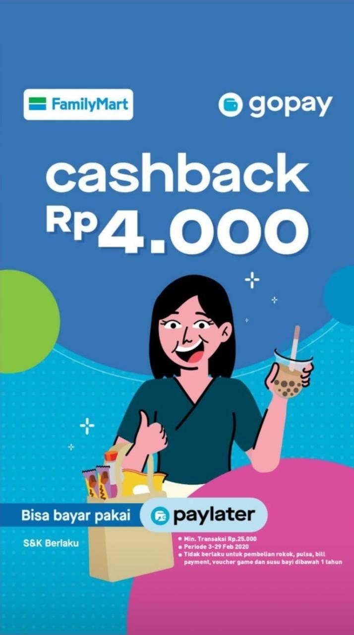 FamilyMart Promo Spesial Cashback Senilai Rp. 4.000 Langsung Dengan Gopay