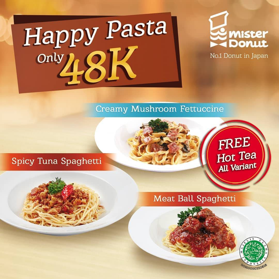Mister Donut Promo Happy Pasta And Free Hot Tea With Special Price Only IDR 48.000