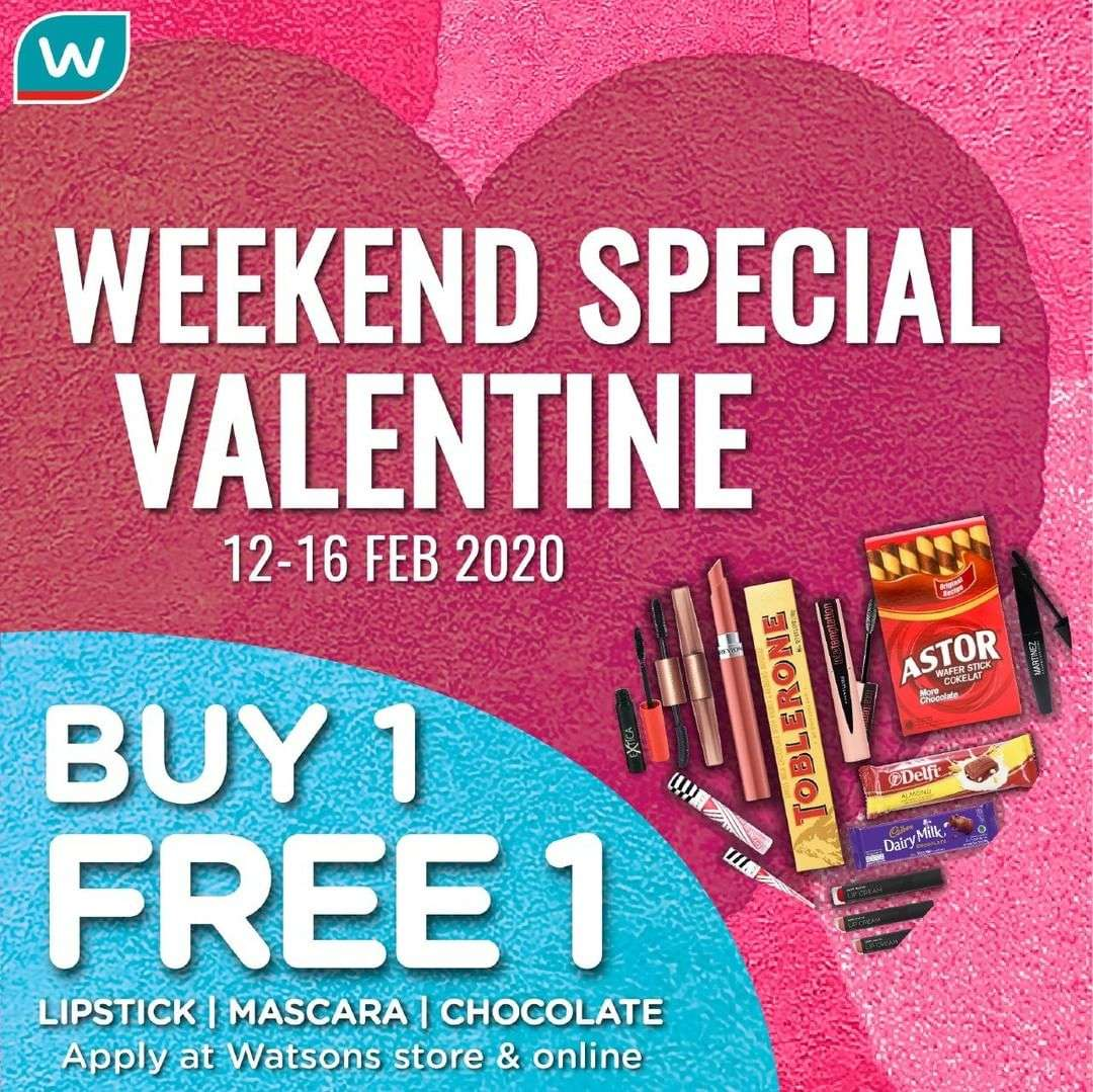 Watsons Promo Weekend Special Valentine, Buy 1 Get 1 Free Produk Make Up Dan Cokelat Pilihan