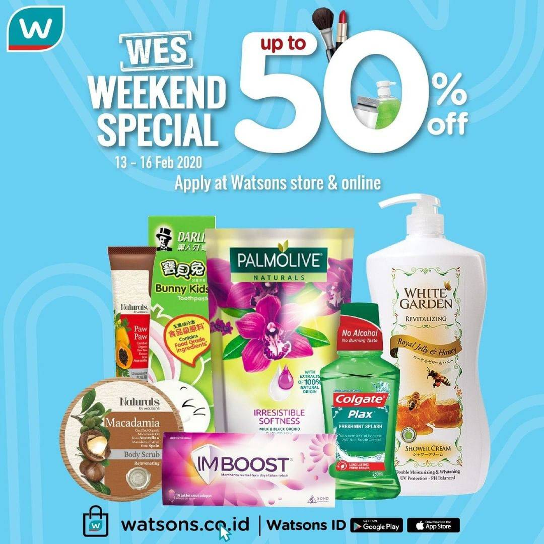 Watsons Promo Weekend Special, Diskon Hingga 50% Produk Pilihan