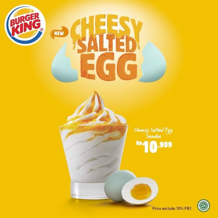 Burger King Promo Menu Baru, Harga Spesial Cheesy Salted Egg Sundae Hanya Rp. 10.909