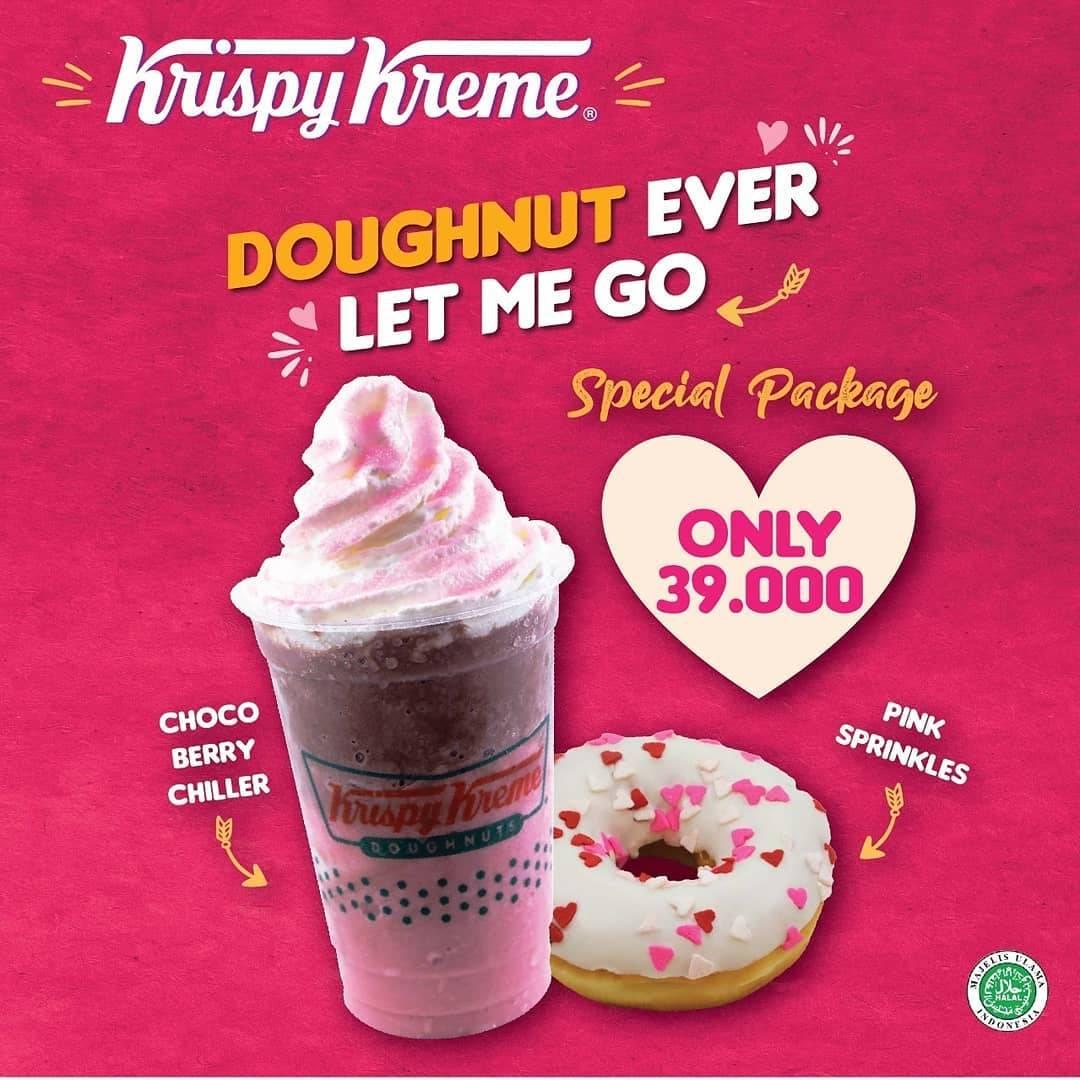 Krispy Kreme Promo Special Packages, 1 Chocoberry Chiller & 1 Pink Sprinkles Doughut Cuma Rp. 39.000