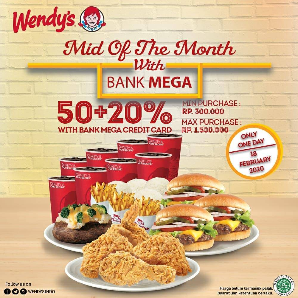Wendy's Promo Diskon 50% + 20% Transaksi Menggunakan Kartu Kredit Bank Mega