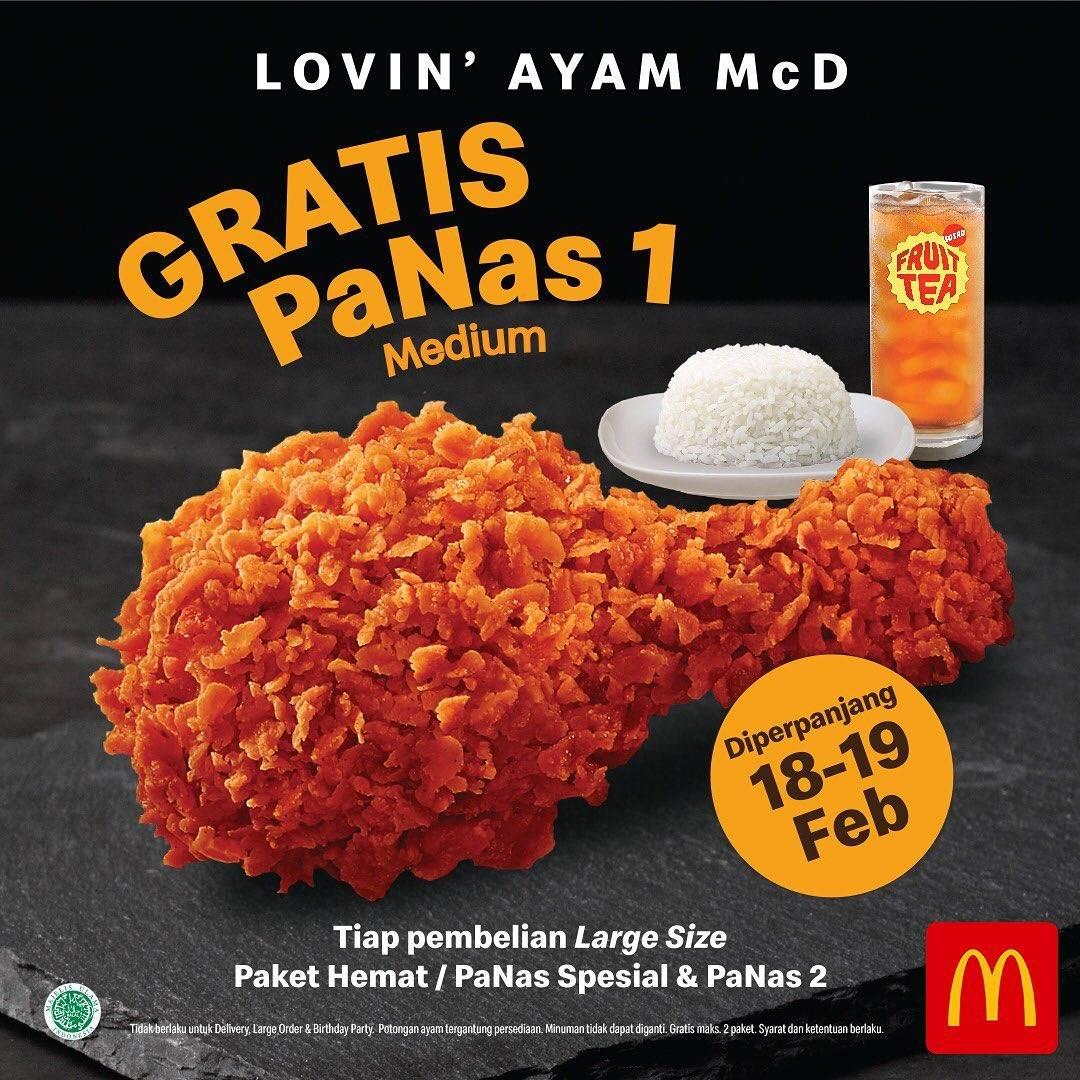 McDonalds Promo Gratis Panas 1 Medium Setiap Pembelian Paket Hemat Ukuran Large