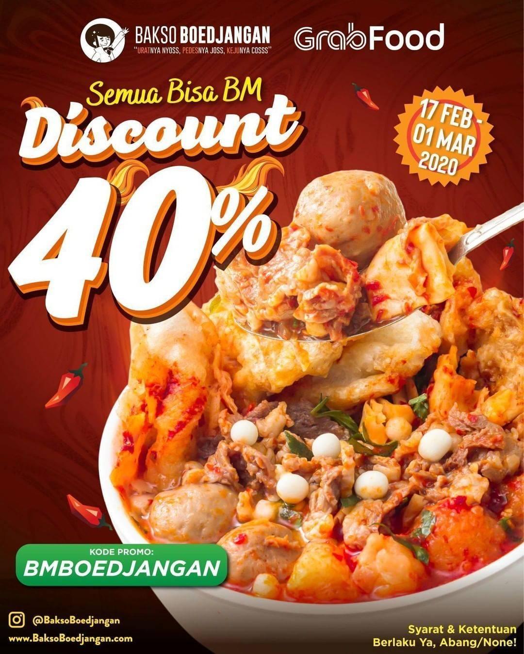 Bakso Boedjangan Promo Diskon 40% Pembelian Melalui Grabfood
