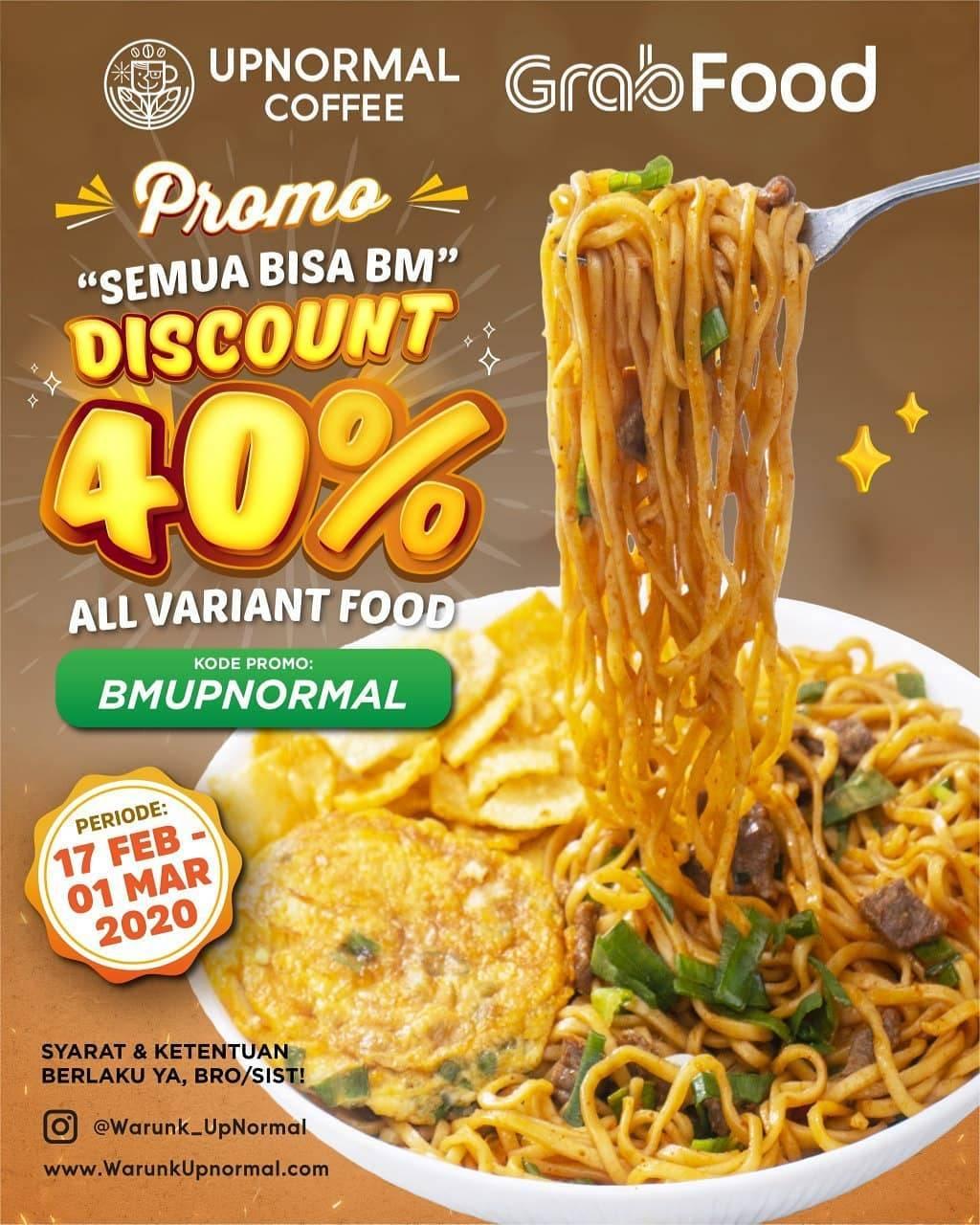Warunk Upnormal Promo Diskon 40% Untuk Pembelian Melalui Grabfood