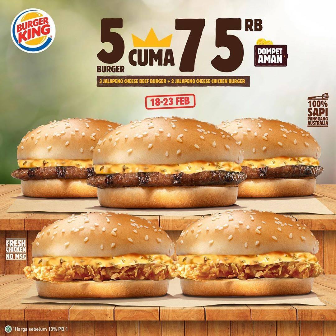 Diskon Burger King Promo Beli 5 Burger Cuma Rp. 75.000