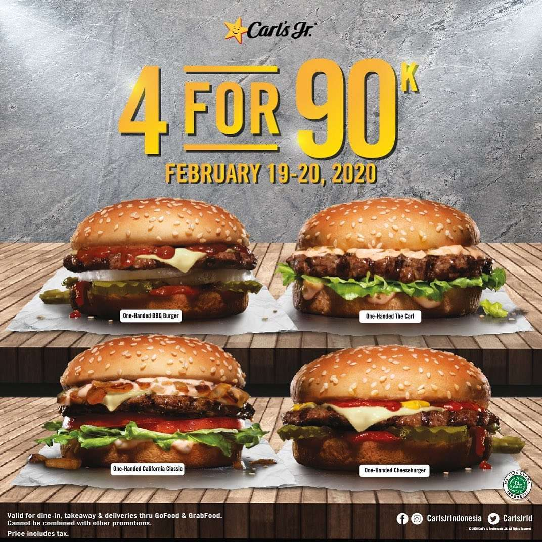 Carls Jr Promo 4 For Rp. 90.000