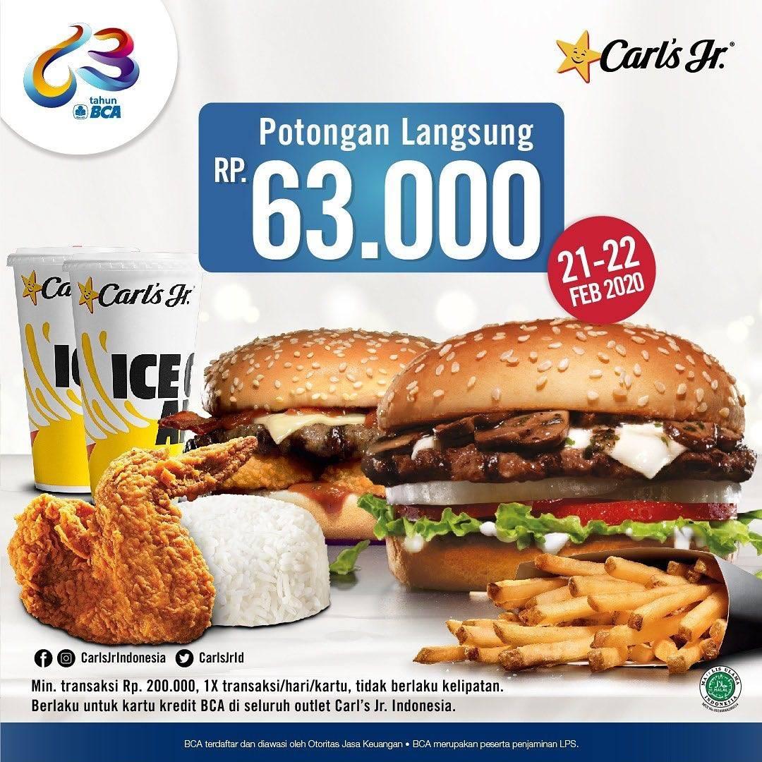 Carls Jr Promo Potonga Langsung Rp. 63.000 Menggunakan Kartu Kredit BCA