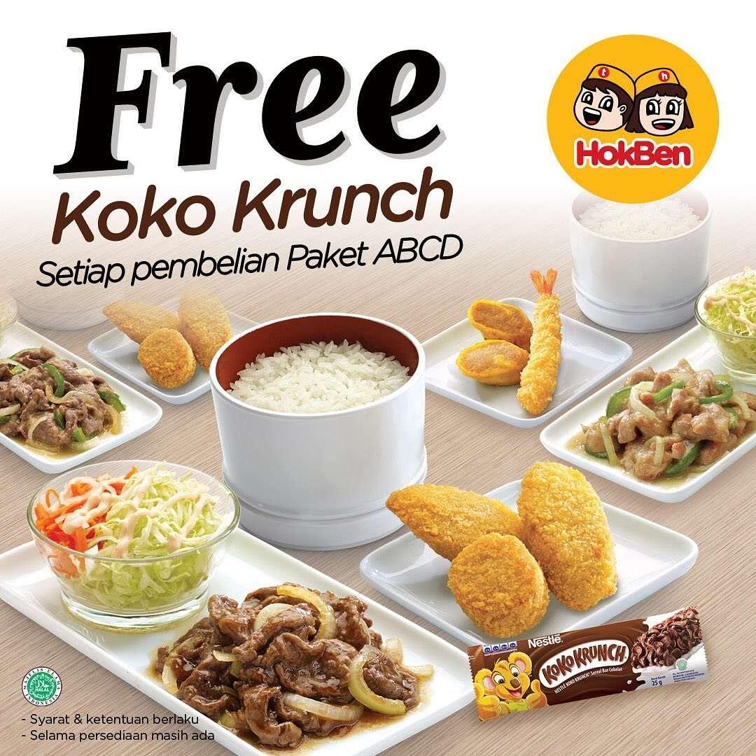 HokBen Promo Gratis 2 Pcs Coco Crunch Bar Setiap Pemesanan Paket ABCD