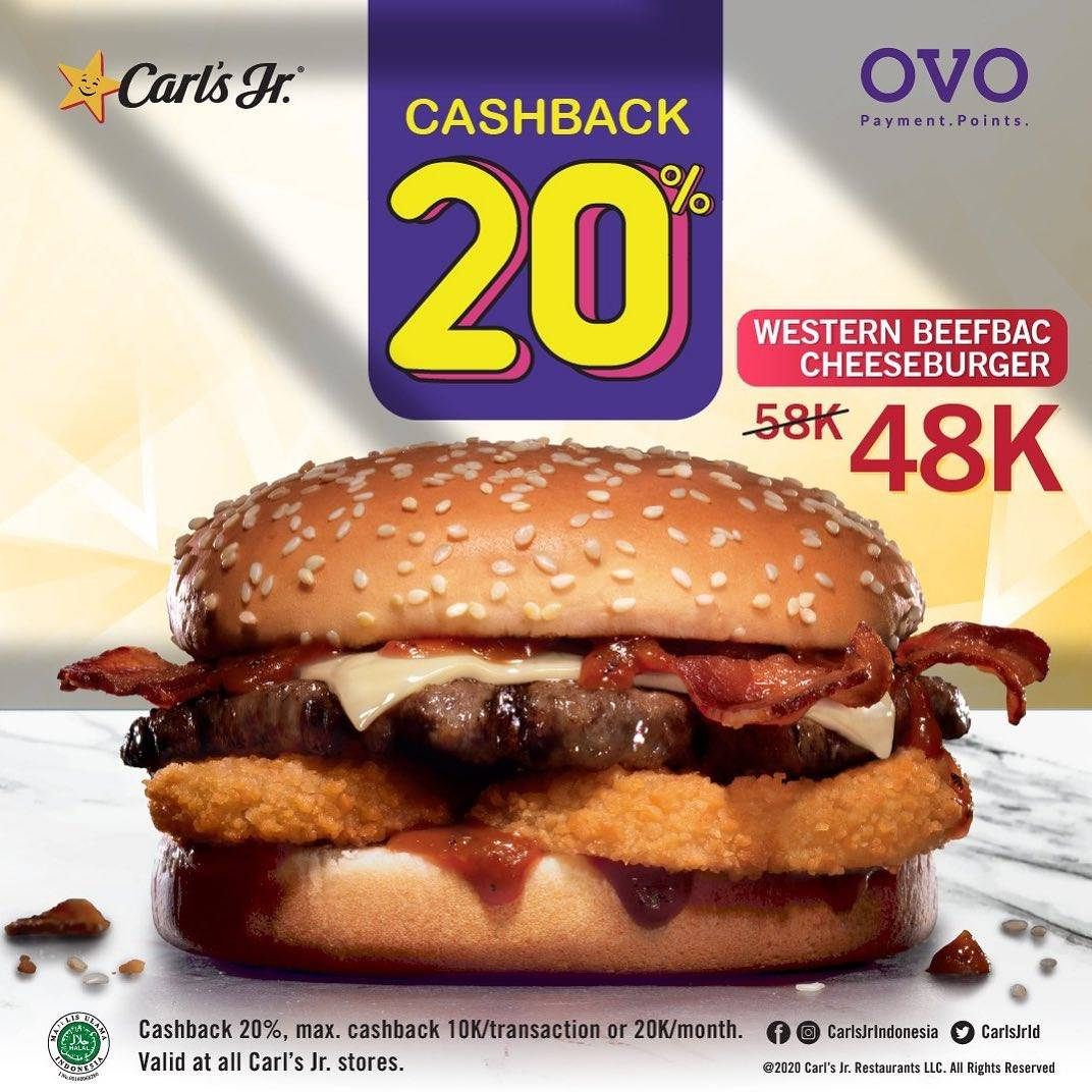 Carls Jr Promo Cashback 20% Off For Beefbac Cheeseburger By Using OVO