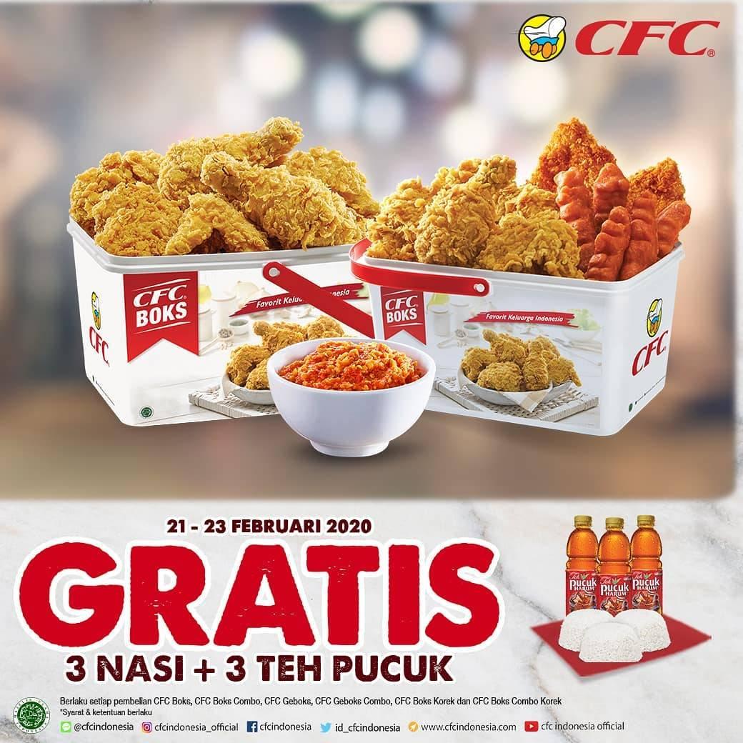CFC Promo Gratis 3 Nasi + 3 Teh Pucuk Harum Dengan Harga Mulai Dari Rp. 128.181