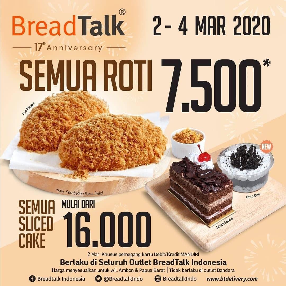Breadtalk Promo Harga Spesial Semua Menu Mulai Dari Rp. 7.500