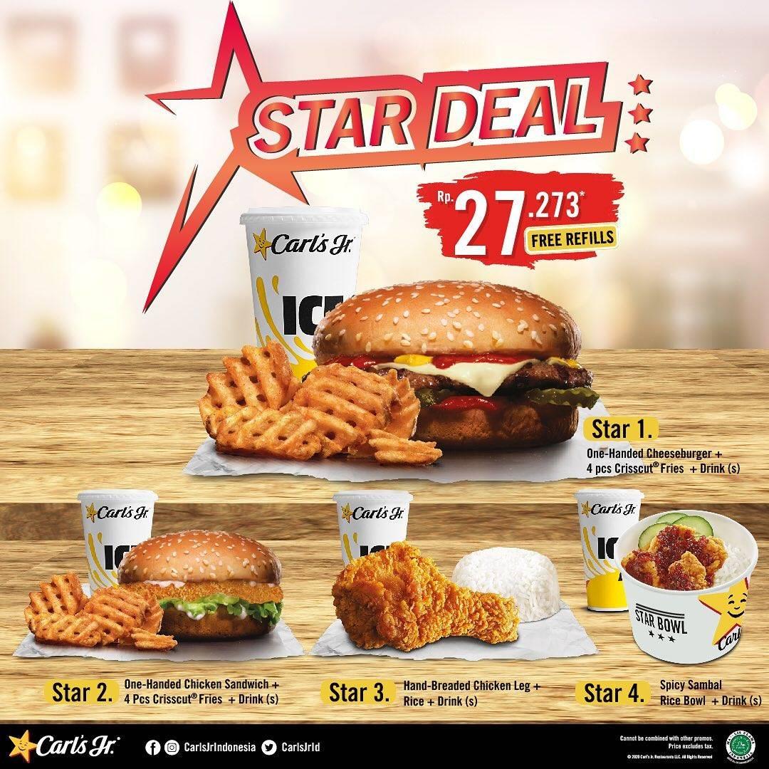 Carls Jr Promo Star Deal, Beli 4 Pilihan Paket Makanan Dengan Harga Rp. 27.273