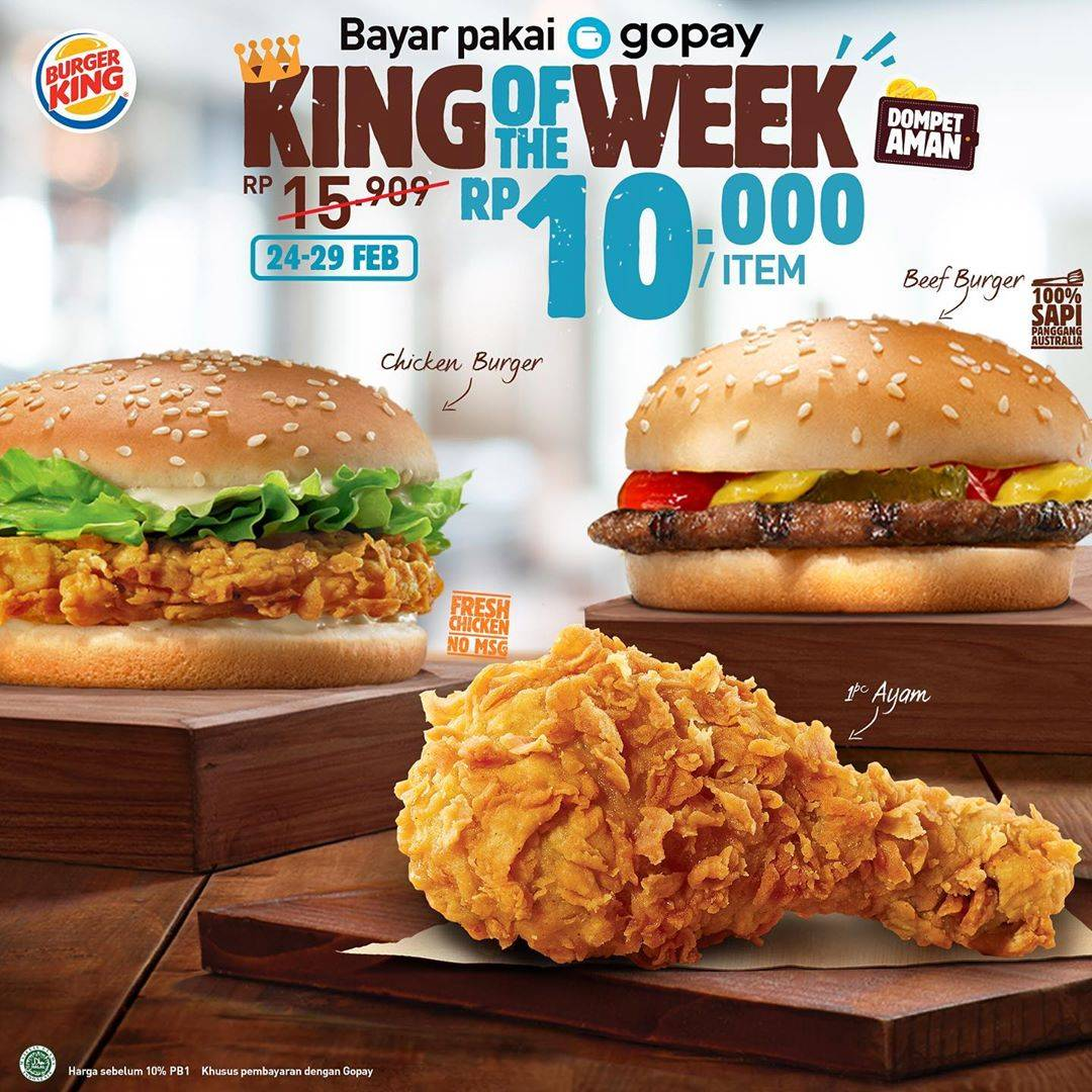 Diskon Burger King Promo King Of The Week Dengan Transaksi Via Gopay