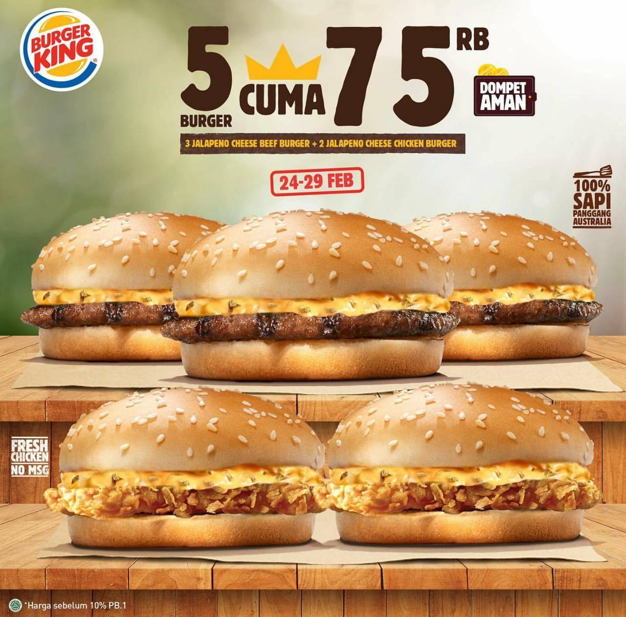 Burger King Promo Beli 5 Burger Cuma Rp. 75.000