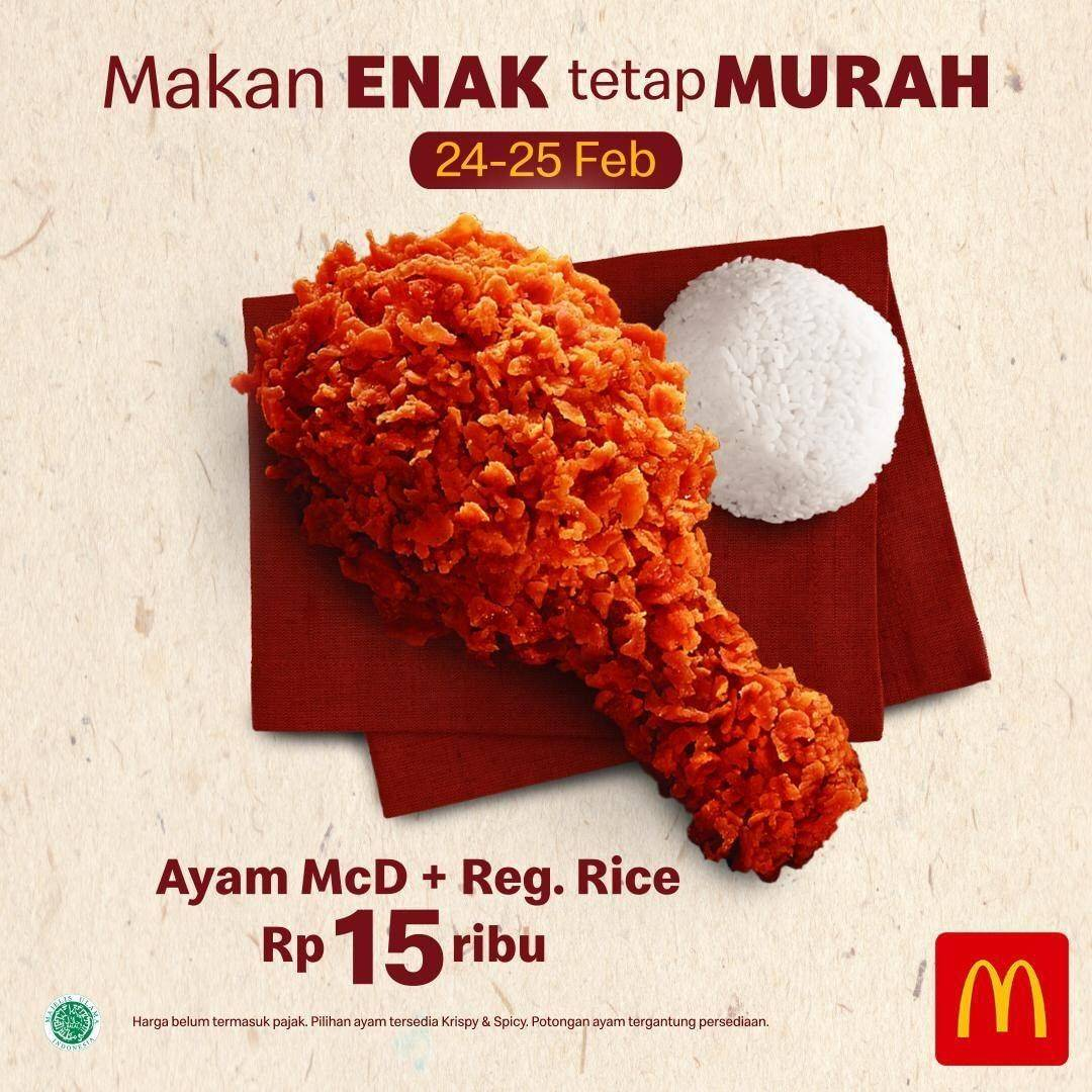McDonalds Promo Ayam McD + Regular Rice Cuma Rp. 15.000