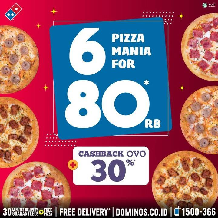 Domino's Pizza Promo 6 Pizza Mania Cuma Rp. 80.000 + Cashback  30% OVO