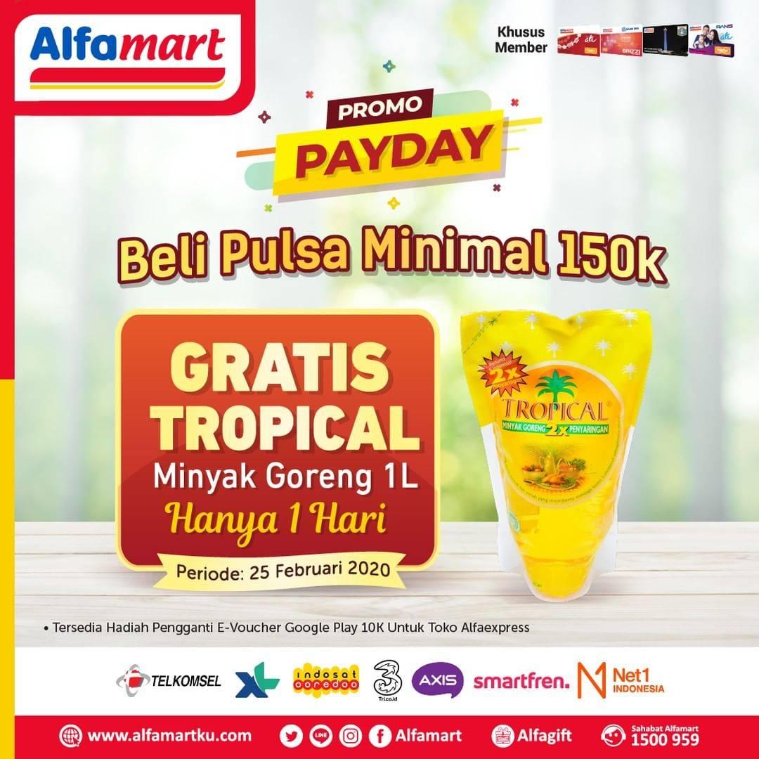 Alfamart Promo Gratis Minyak Goreng Bimoli/Tropical Setiap Pembelian Pulsa Telkomsel Rp. 100.000