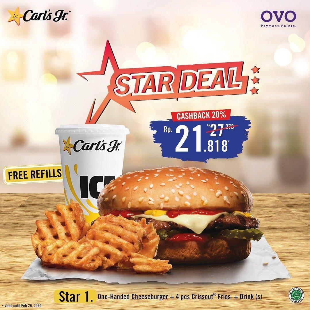 Carls Jr Promo Cashback 20% Pembayaran Menggunakan OVO Untuk Paket Star