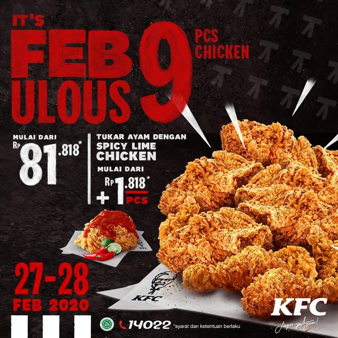 KFC Promo Febulous Harga Spesial Paket Untuk 9 Pcs Ayam Hanya Rp. 81.818