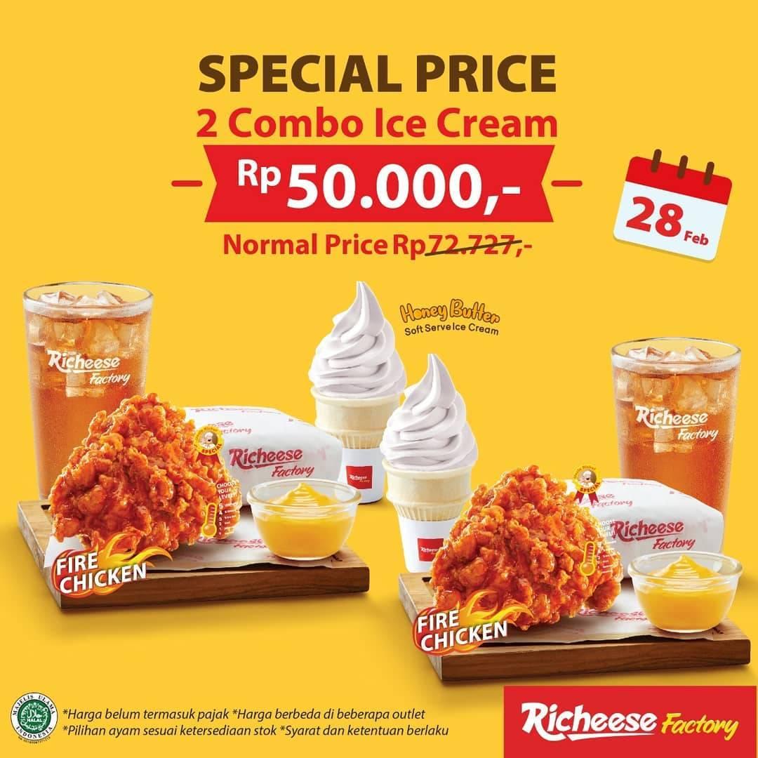 Richeese Factory Promo Harga Spesial 2 Combo Ice Cream Cuma Rp. 50.000