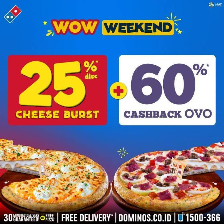 Domino's Pizza Discount 25% Off For Cheese Burst Pizza + 60% Cashback OVO