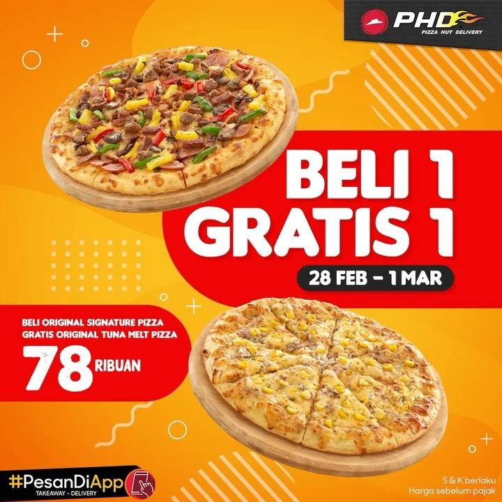 PHD Promo Beli Original Regular Signature Pizza Gratis Original Tuna Melt Regular Pizza