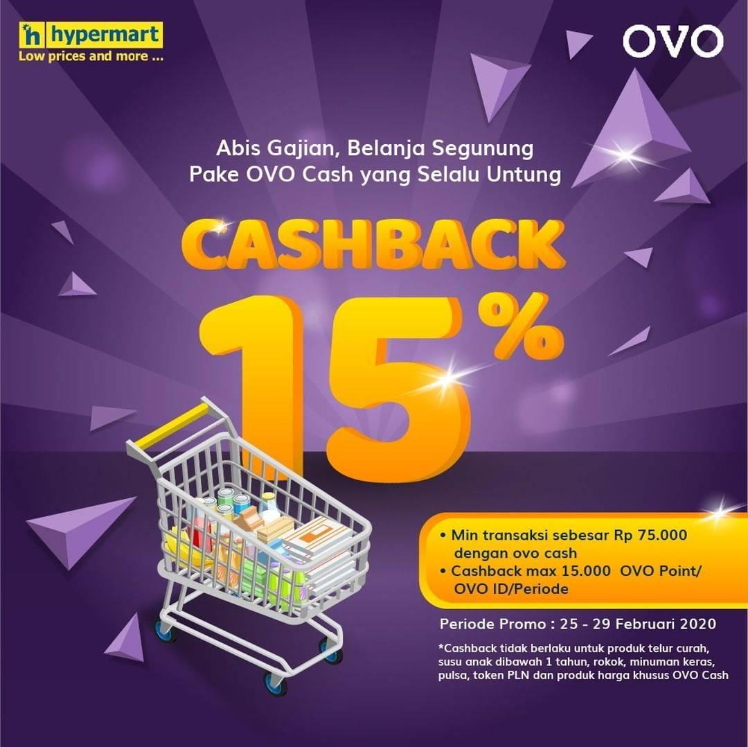 Hypermart Promo Cashback 15% Pembayaran Menggunakan OVO