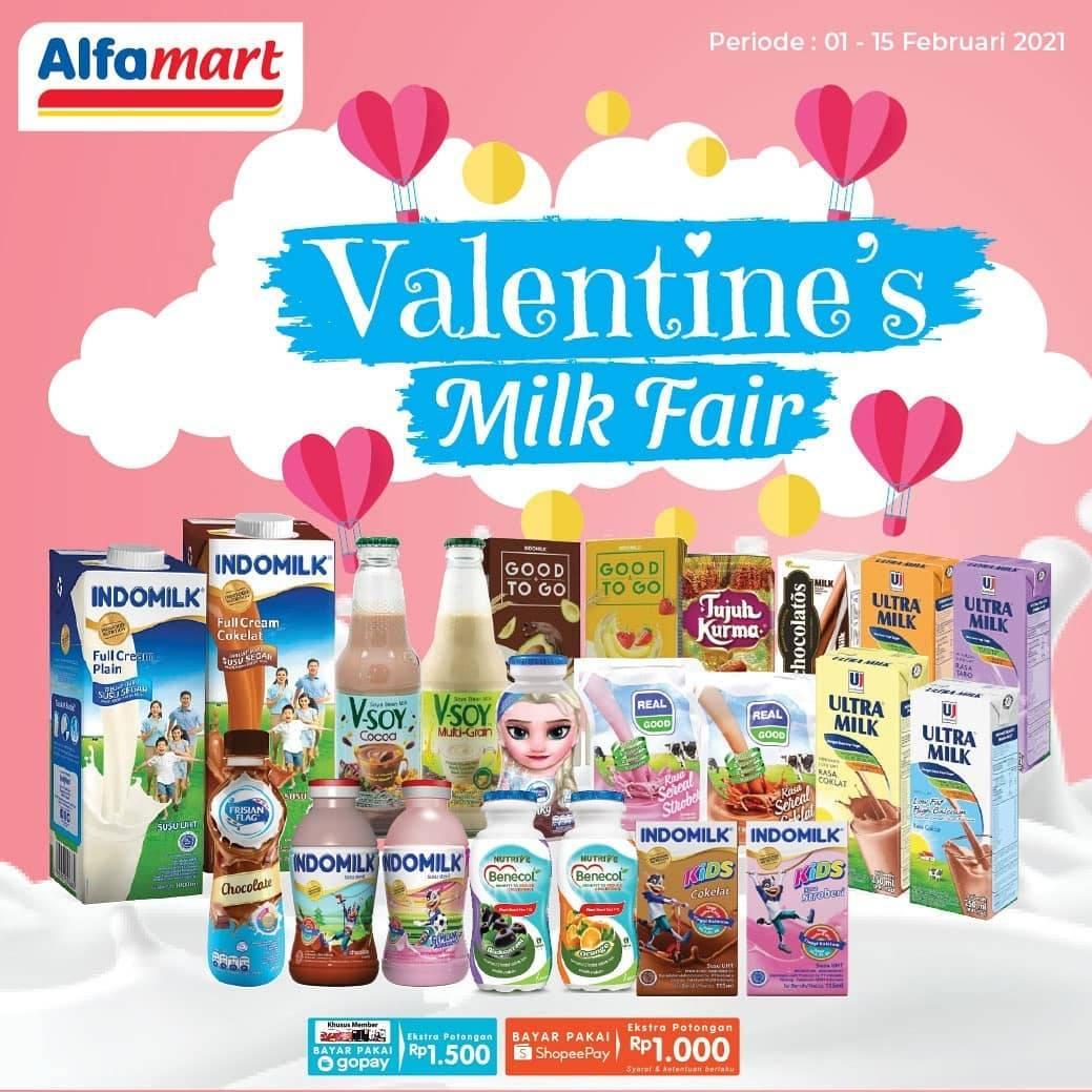 Diskon Katalog Promo Alfamart Valentine Milk Fair Periode 1 - 15 Februari 2021