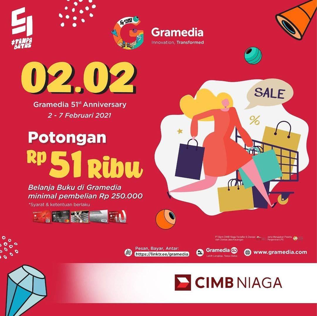 Diskon Gramedia Potongan Rp. 51.000 Dengan Kartu Kredit CIMB Niaga