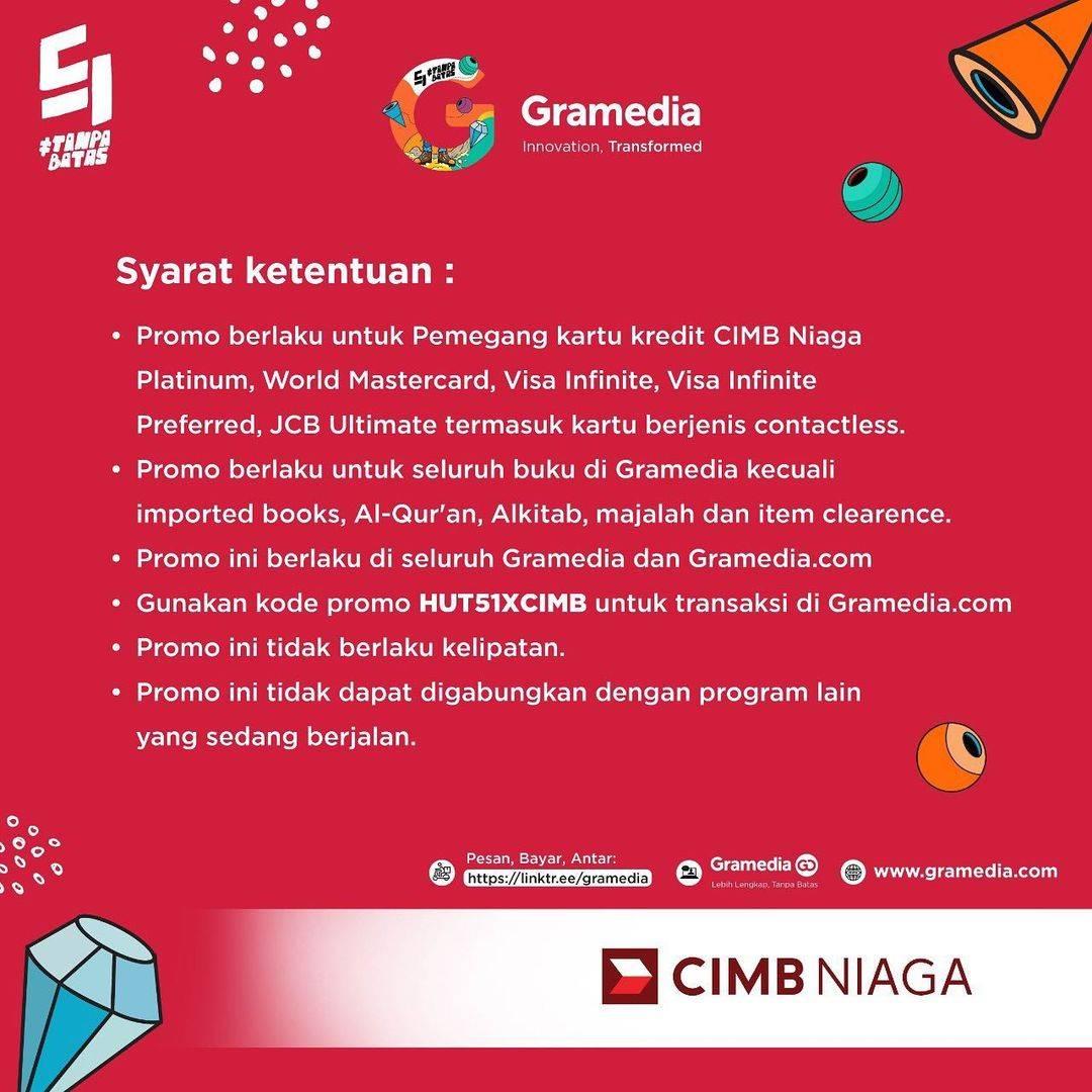 Promo diskon Gramedia Potongan Rp. 51.000 Dengan Kartu Kredit CIMB Niaga