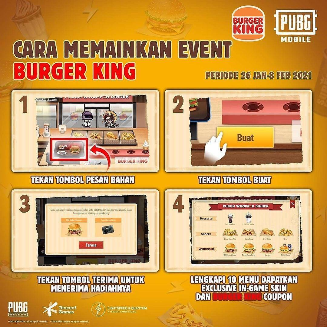 Promo diskon Burger King x PUBG Buy Whopper Free Whopper Jr