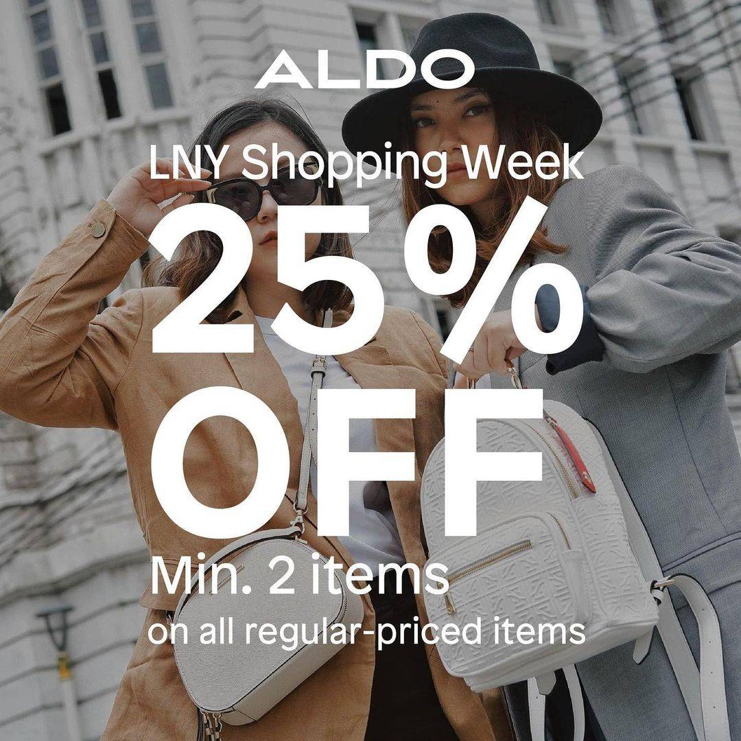 Promo diskon Aldo LNY Shopping Week Discount 25% Off