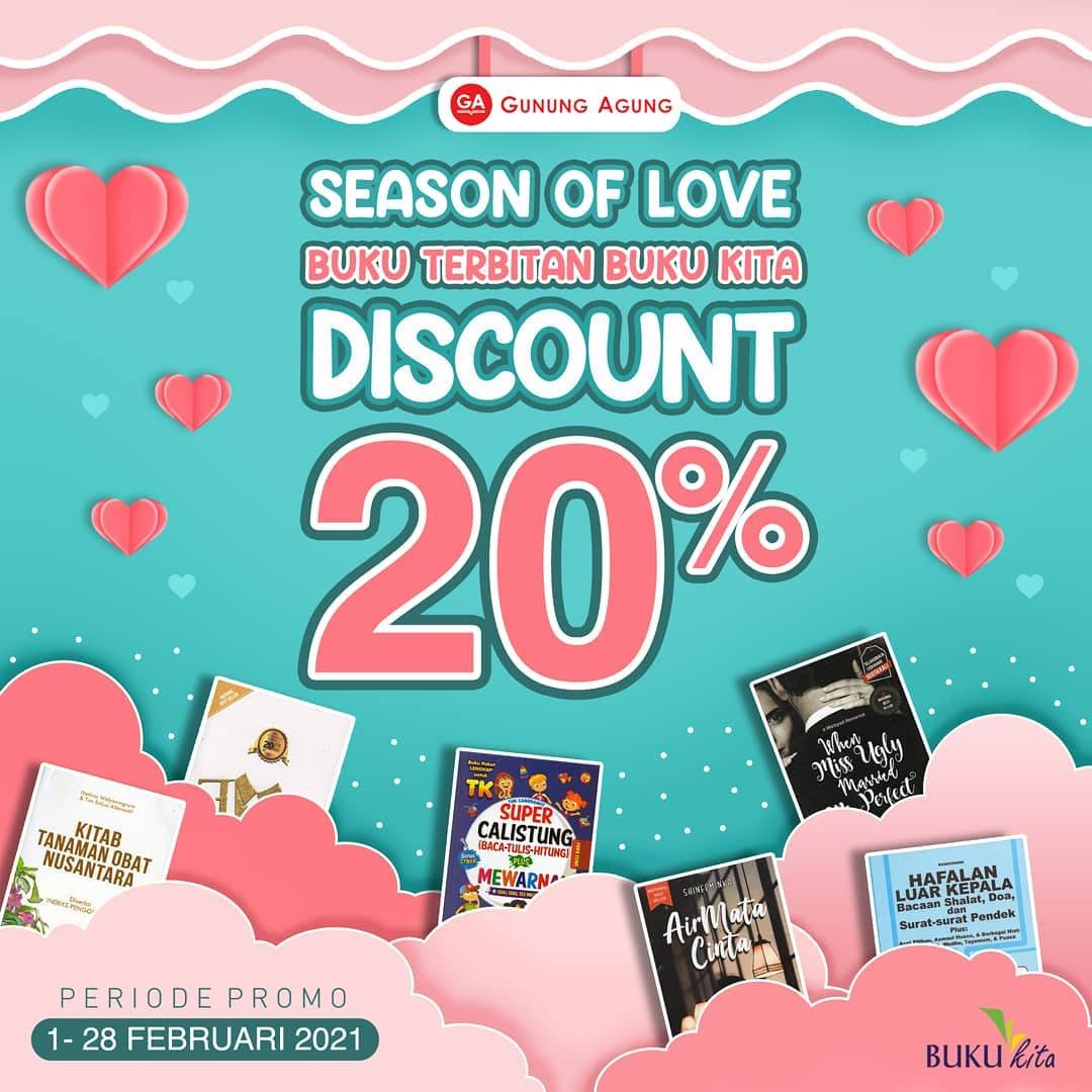 Diskon Toko Gunung Agung Season Of Love Discount 20% Off