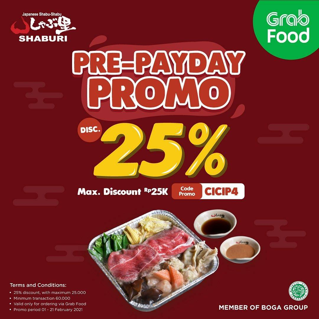 Diskon Shaburi Pre-Payday Promo Discount 25% Off On GrabFood