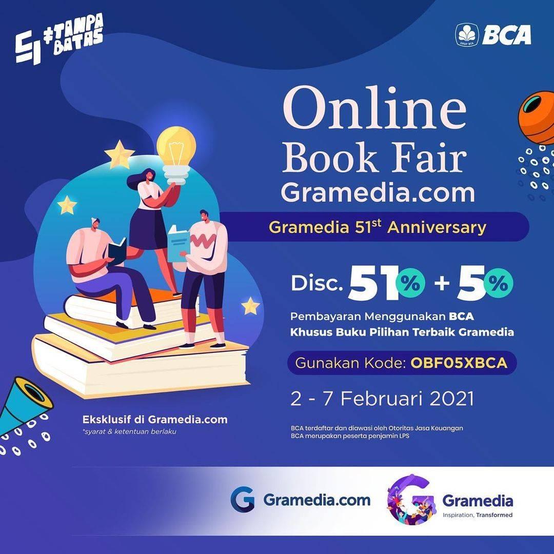 Diskon Gramedia Online Book Fair Discount 51% + 5% With BCA Card