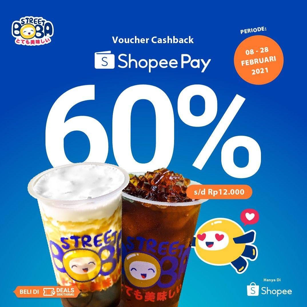 Diskon Street Boba Cashback 60% With Shopeepay