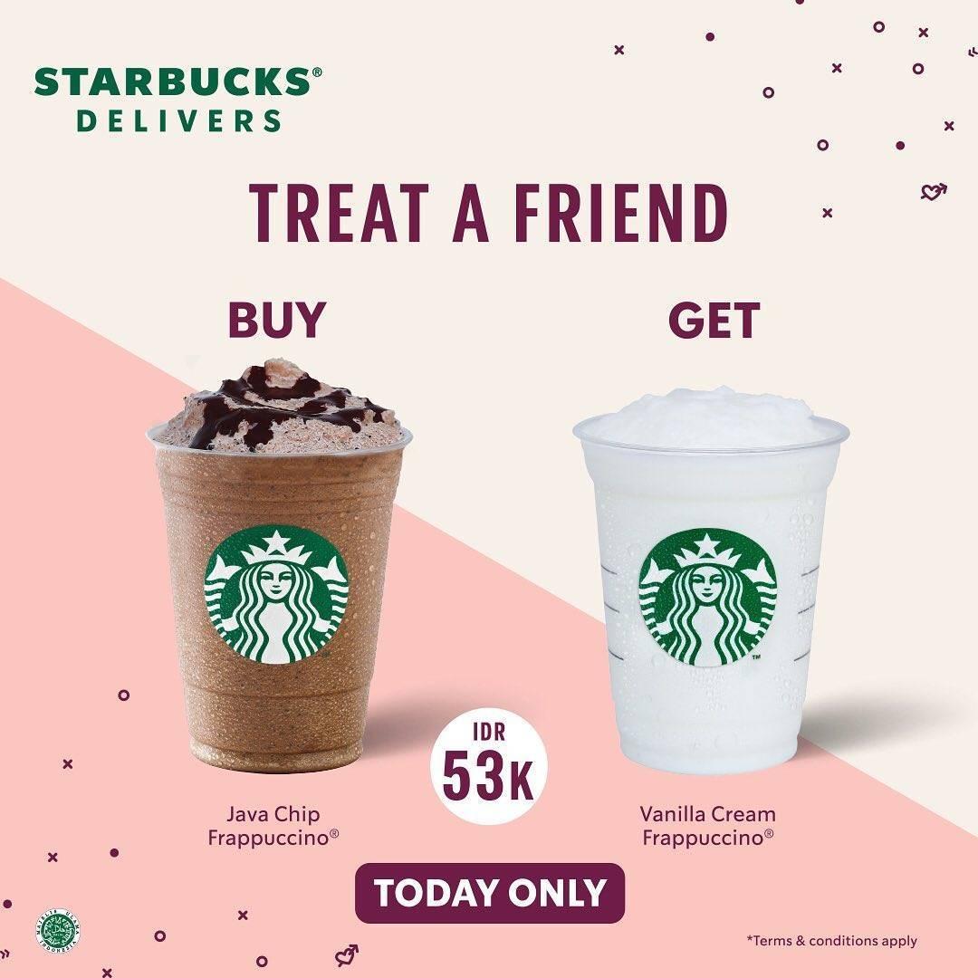 Promo diskon Starbucks Promo Treat A Friend Buy 1 Get 1 Free