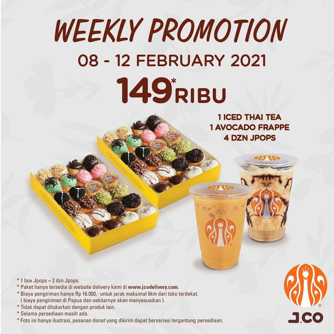 Diskon JCO Weekly Promotion 2 Beverages + 4 Dzn Jpops Only For Rp. 149.000