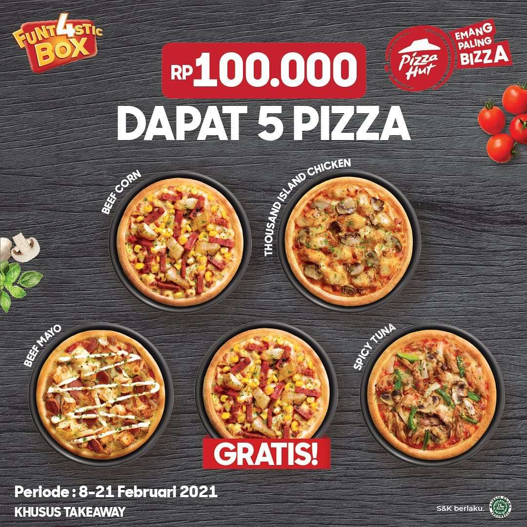 Diskon Pizza Hut Promo 5 Pizza Hanya Rp. 100.000