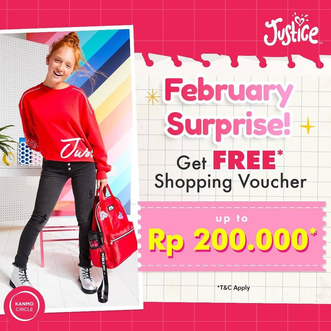 Promo diskon Justice February Surprise Get Free Shopping Voucher Up To Rp. 200.000