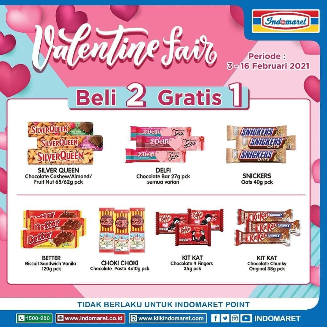 Diskon Katalog Promo Indomaret Valentine Fair Beli 2 Gratis 1 Periode 3 - 16 Februari 2021