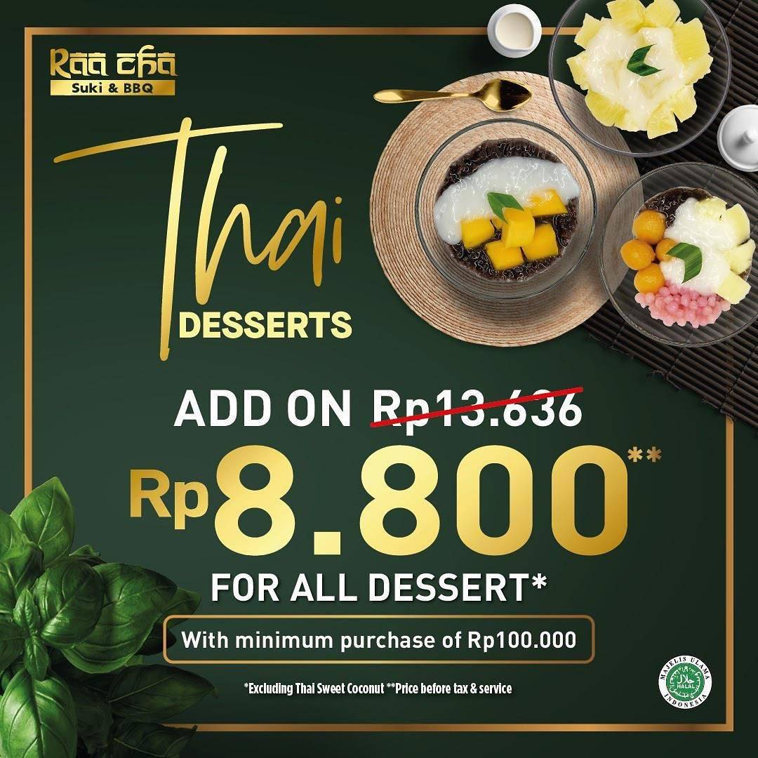 Diskon Raa Cha Suki & BBQ Promo Add Rp. 8.800 On Thai Desserts