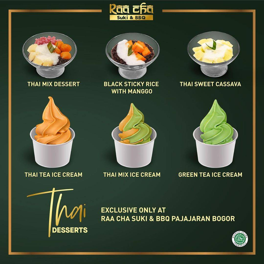 Promo diskon Raa Cha Suki & BBQ Promo Add Rp. 8.800 On Thai Desserts