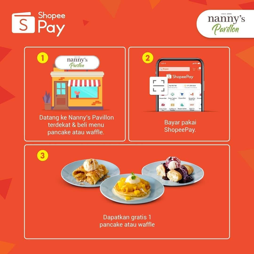 Promo diskon Nanny's Pavillion Buy 1 Get 1 Free Pancake Dengan Shopeepay